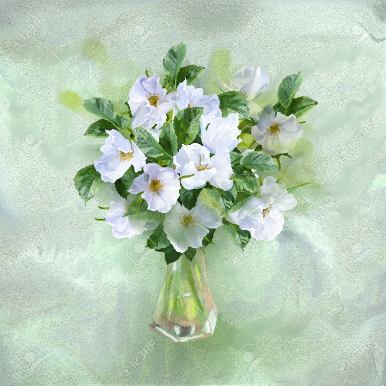 Flowers Bouquet In Glass Vase Watercolor Painting Card With Stock