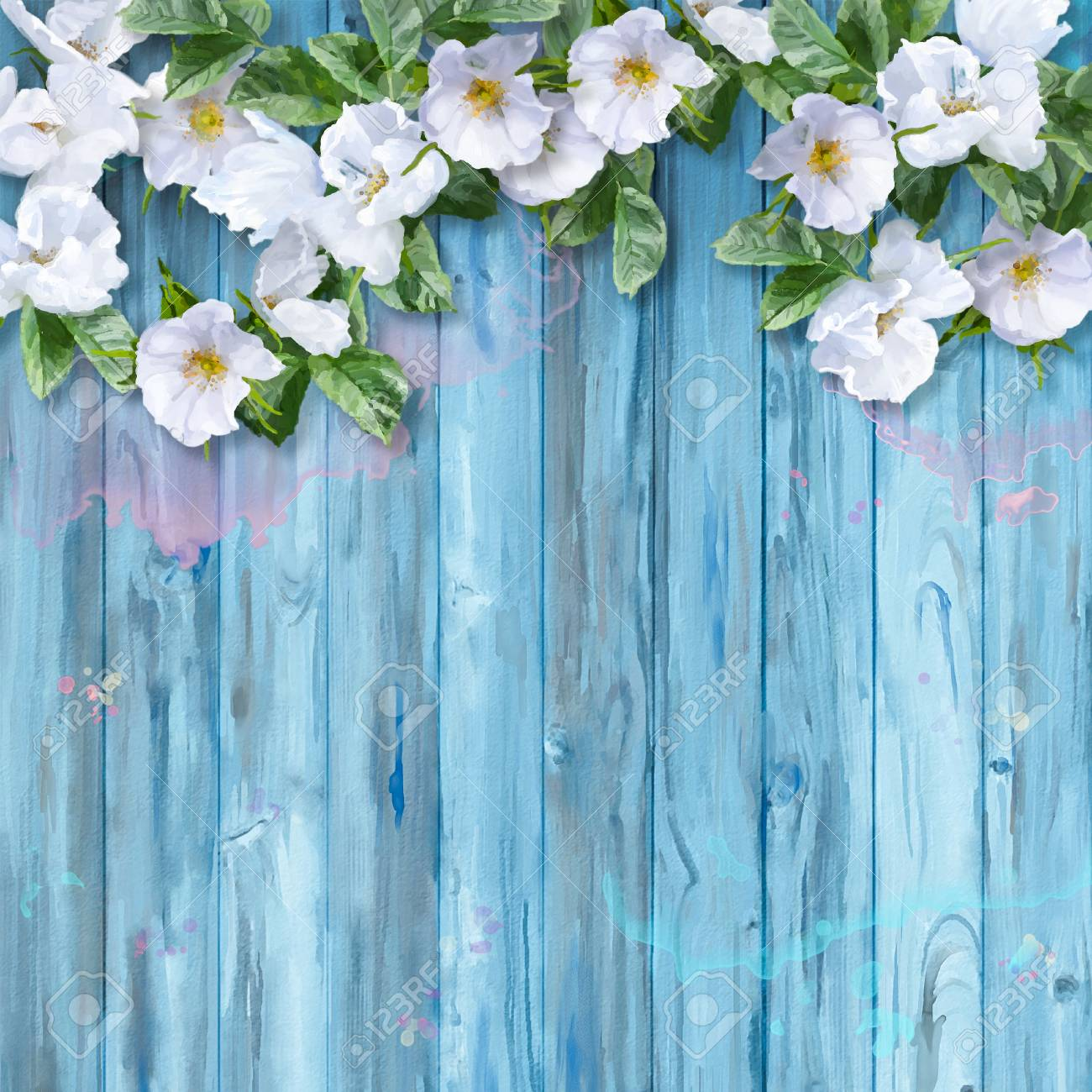 Floral Watercolor White Summer Flowers On Wooden Background Stock