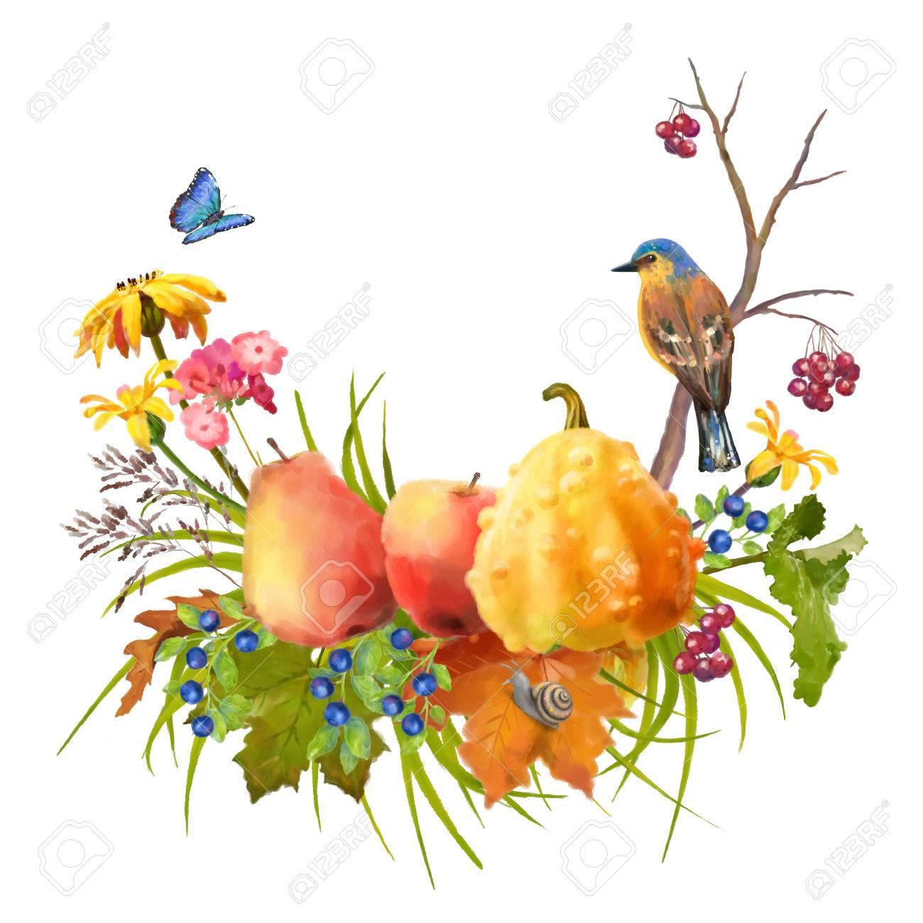 白地にカボチャ秋の花を水彩画の感謝祭組成のイラスト秋葉と鳥 の写真