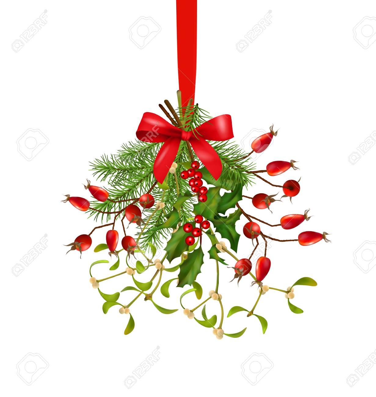 Bouquet De Noel Avec Du Houx suspendre bouquet de noël et nouveau vecteur décoration de l'année avec des  branches de sapin, de houx, gui, églantier, arc sur un fond blanc