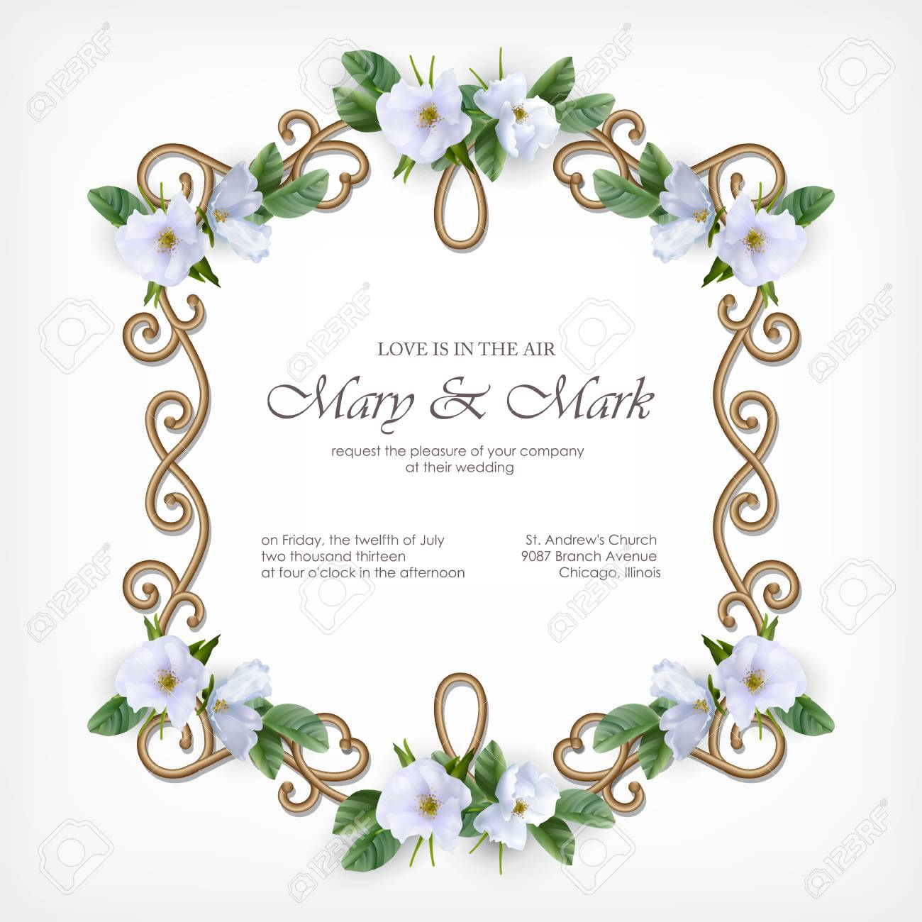 Wedding Invitation Card With Decorative Golden Frame And White ...