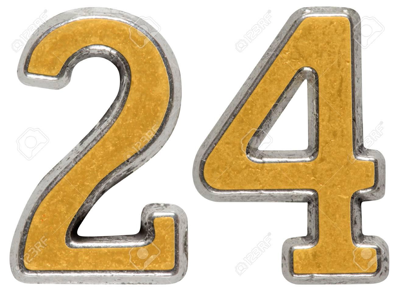 数字 24 24 白い背景で隔離の金属します の写真素材 画像素材 Image