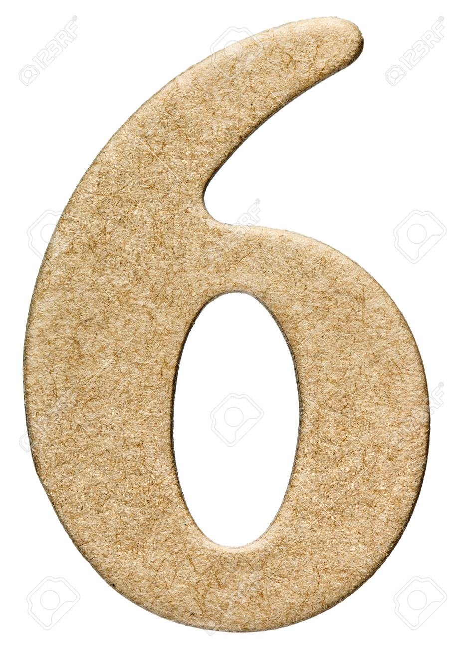 6, six, chiffre de carton, isolé sur fond blanc