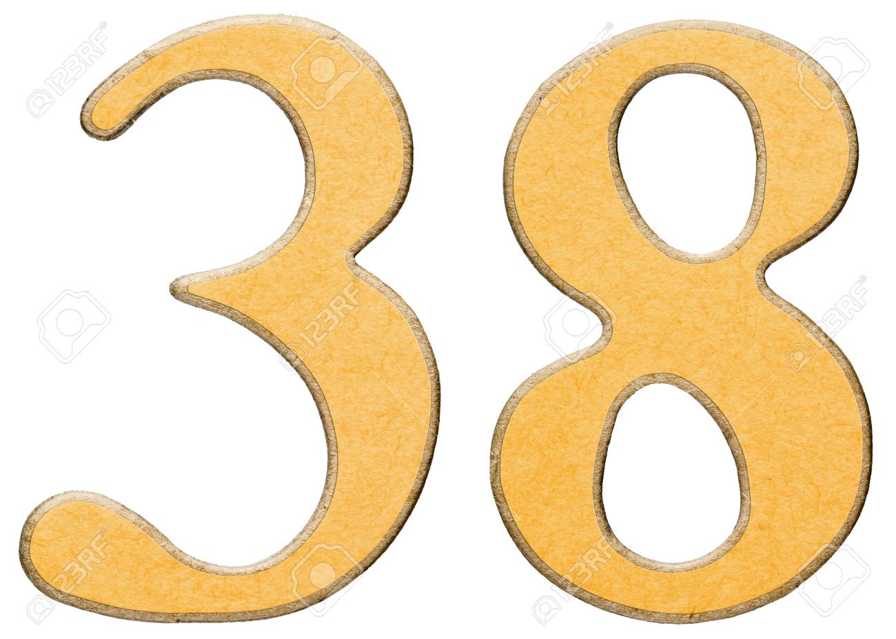 38 Thirty Eight Numeral Of Wood Combined With Yellow Insert Stock Photo Picture And Royalty Free Image Image 68489036