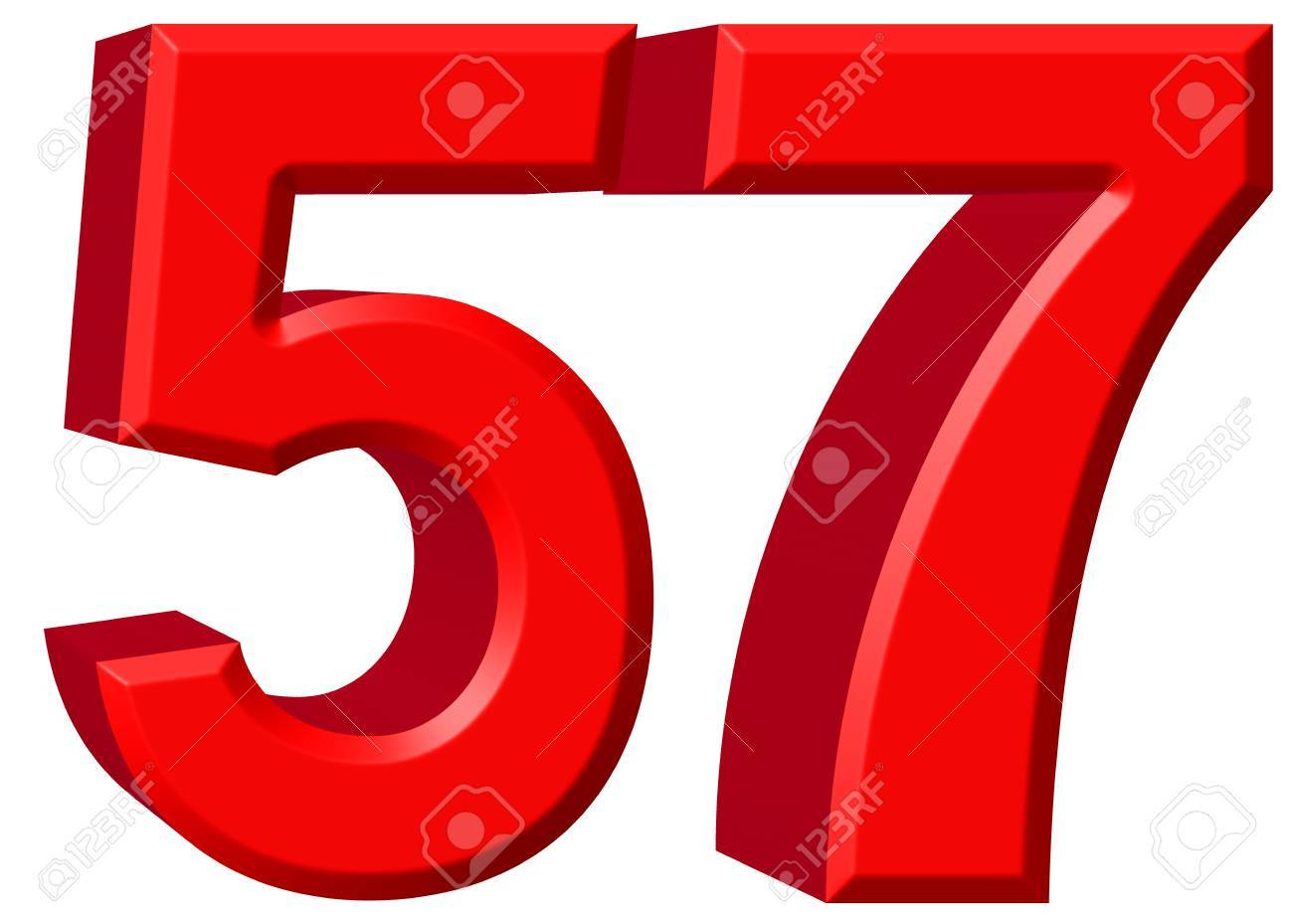 Numeral 57, fifty seven, isolated on white background, 3d render Stock  Photo -