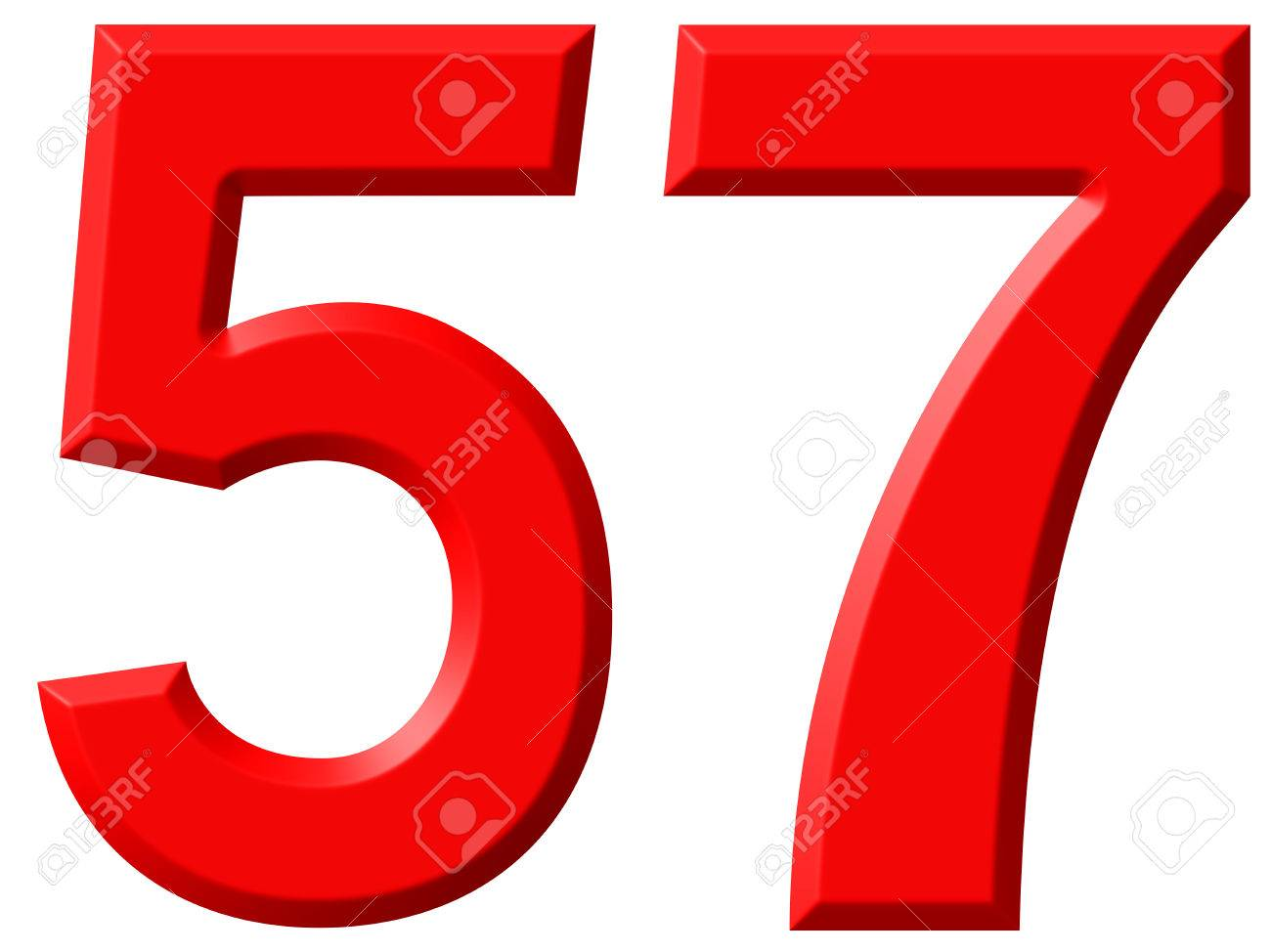 57 >> Numeral 57 Fifty Seven Isolated On White Background 3d Render