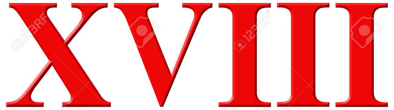 Número Romano Xviii Duodeviginti 18 Dieciocho Aislado En El