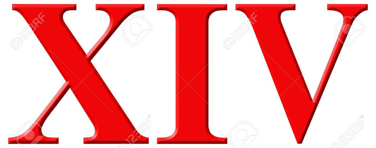 Roman numeral XIV, quattuordecim, 14, fourteen, isolated on white..