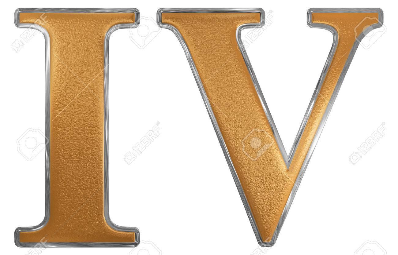 Chiffre Romain 4 iv chiffre romain, quattuor, 4, quatre, isolé sur fond blanc, 3d