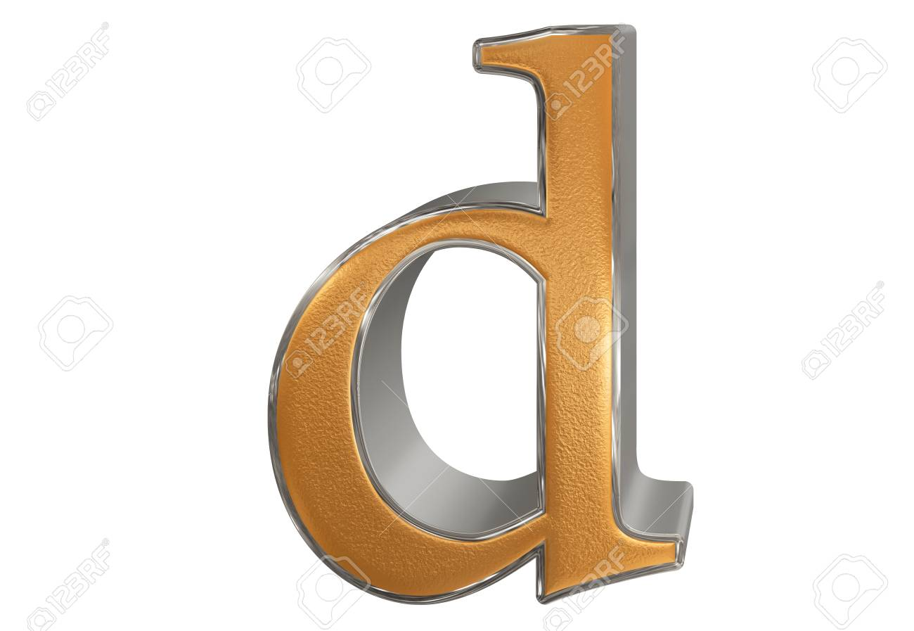 Lowercase Letter D Isolated On White With Clipping Path 3d