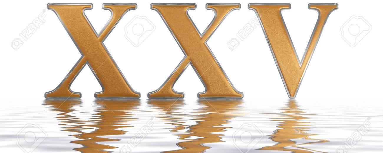 Roman numeral XXV, quinque et viginti, 25, twenty five, reflected..