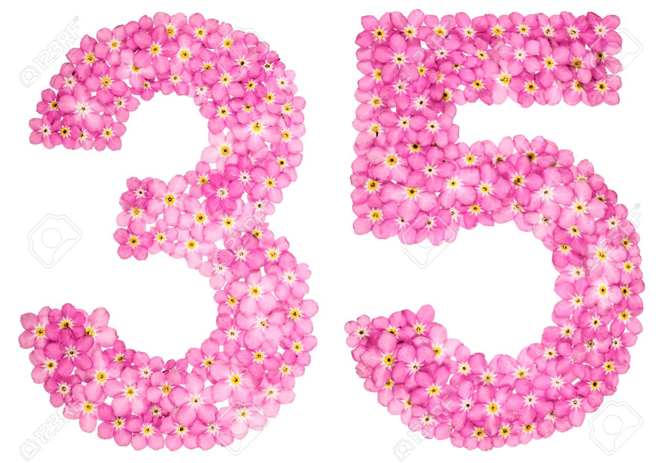 Arabic Numeral 35 Thirty Five From Pink Forget Me Not Flowers