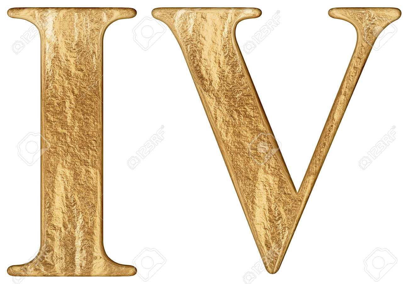Roman numeral IV, quattuor, 4, four, isolated on white background,..
