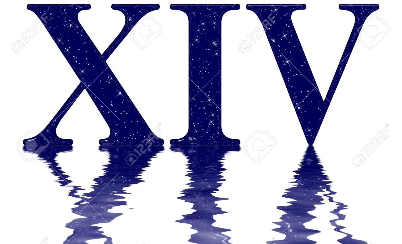 Roman numeral 14, fourteen, star sky texture imitation, reflected..