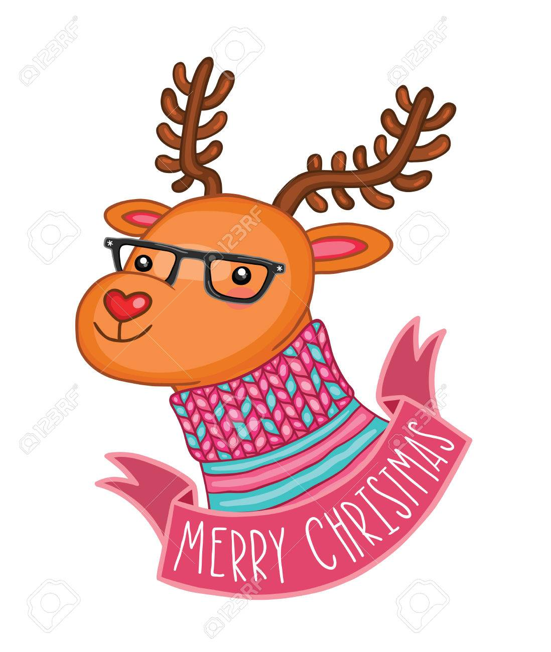 Merry Christmas Cute Deer In Hipster Glasses Royalty Free Cliparts ...