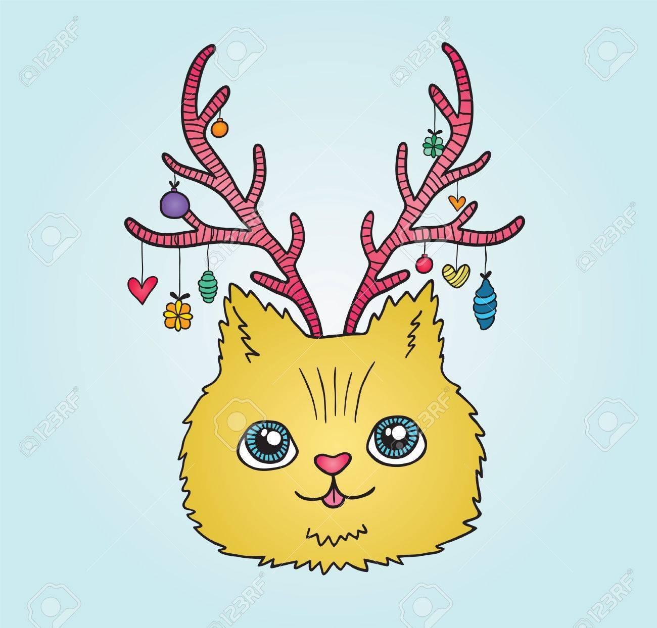鹿の角を持つかわいい漫画クリスマス猫のイラスト素材ベクタ Image