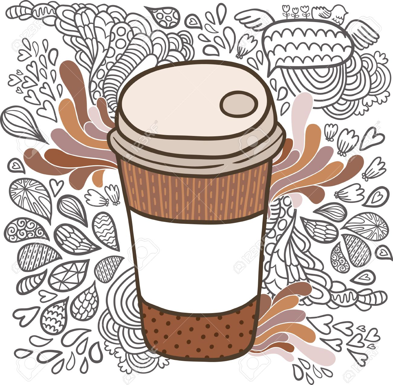 Cartoon Doodle Drawn Coffee Cute Hand Cup dWrxBCoe