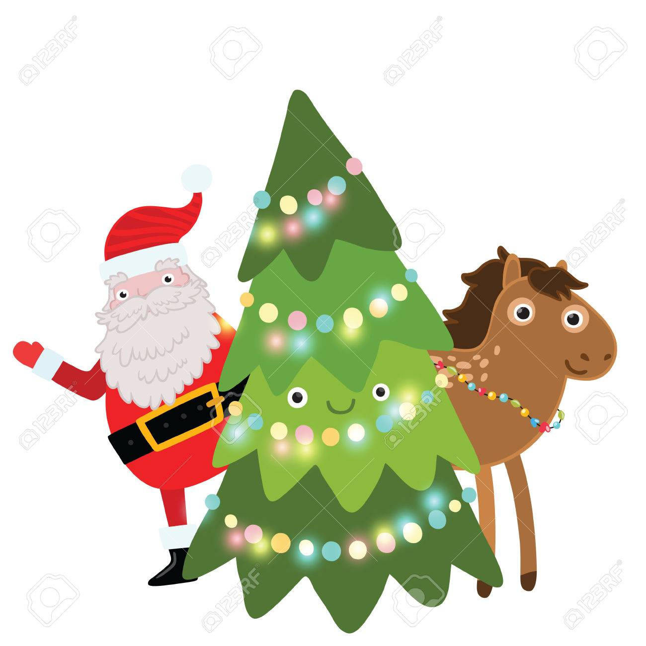 Christmas Horse Cartoon.Christmas Cute Cartoon Horse Holiday Vector Illustration