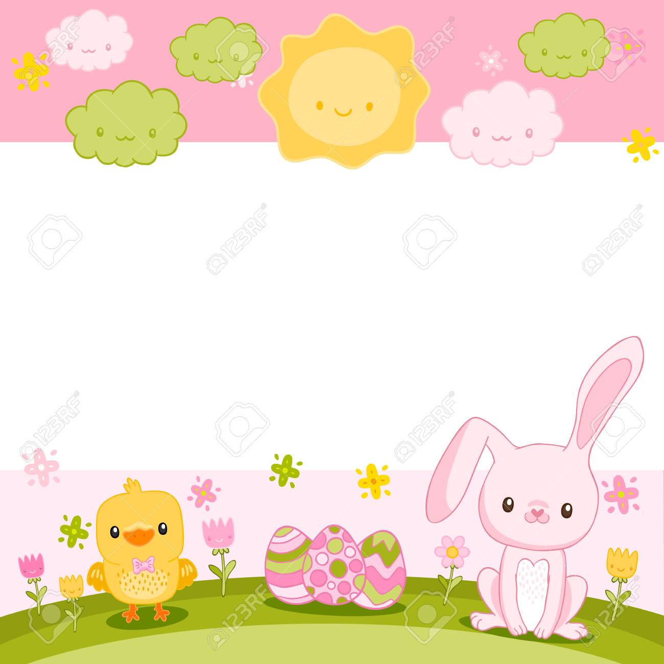 Frohe Ostern Hintergrund Mit Cartoon Niedlichen Häschen Und Huhn