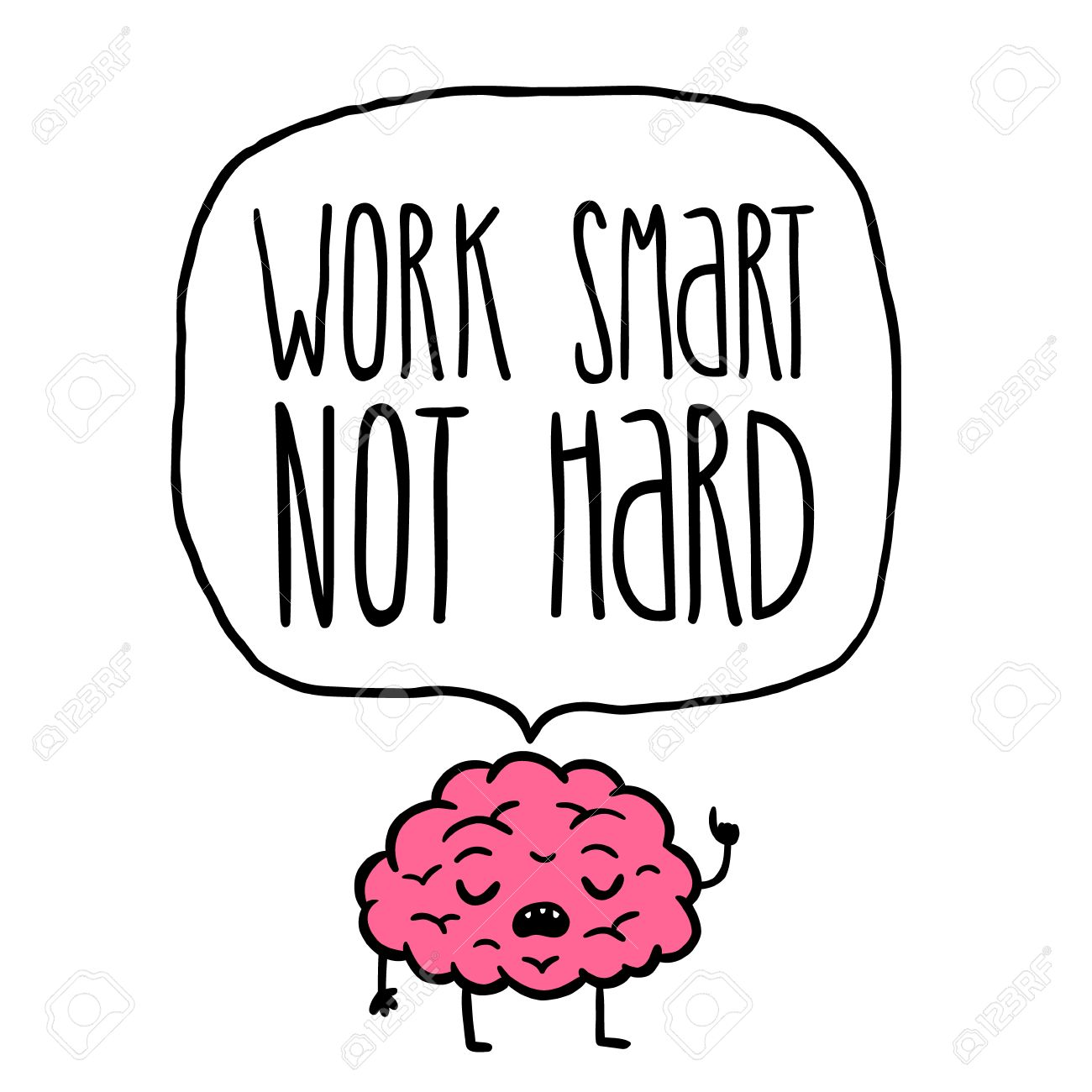 Work Smart Not Hard Vector Illustration. Brain Cartoon Royalty ... for Smart Cartoon Brain  56mzq