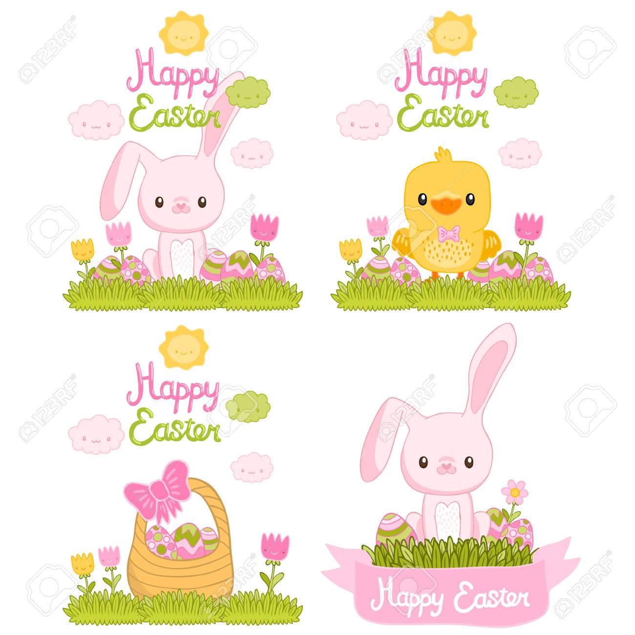 Frohe Ostern Gesetzt Mit Cartoon Niedlichen Häschen Hühner Eier