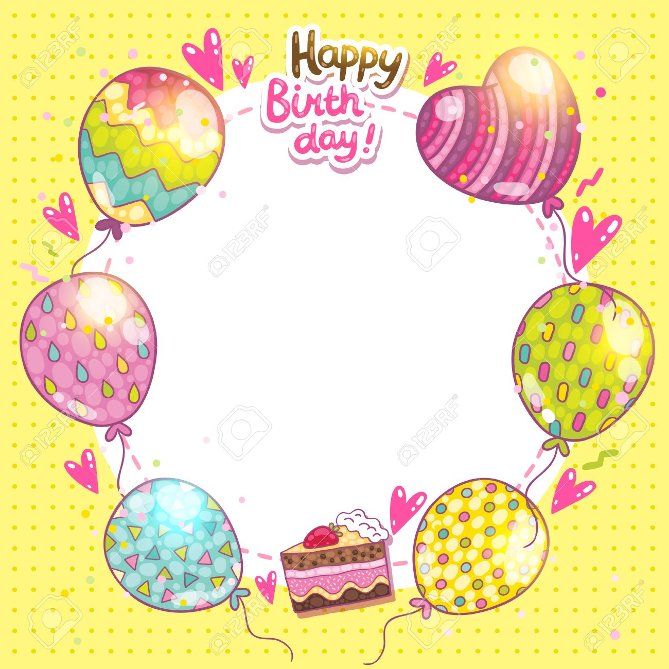 Happy Birthday Card Background With Cake And Balloons Royalty Free