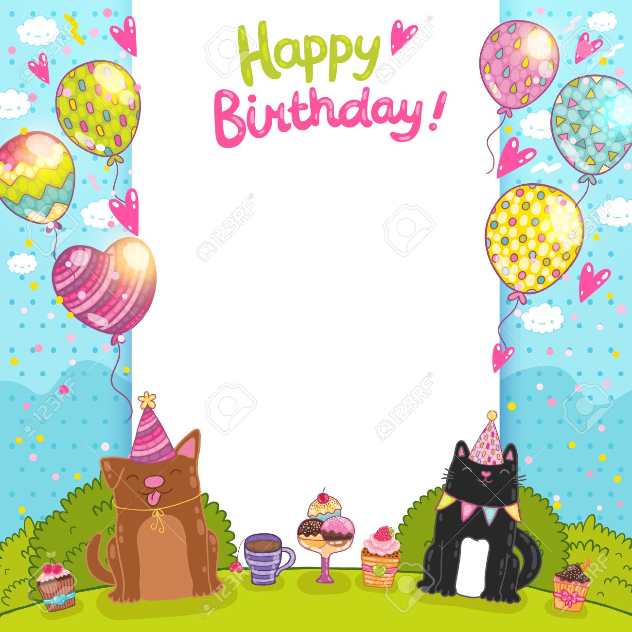 Happy Birthday Card Background With A Cat Dog And Cupcakes Royalty