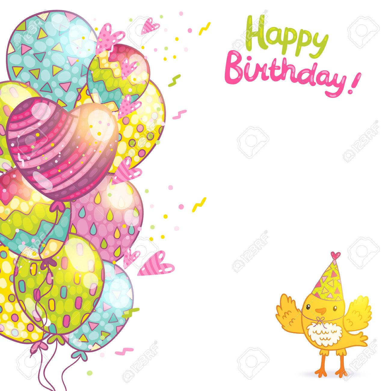Happy Birthday Card Background With A Bird And Balloons