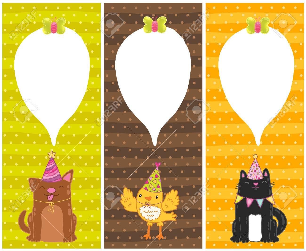 Cute Cartoon Happy Birthday Cards With Dog Cat Bird Stock Vector