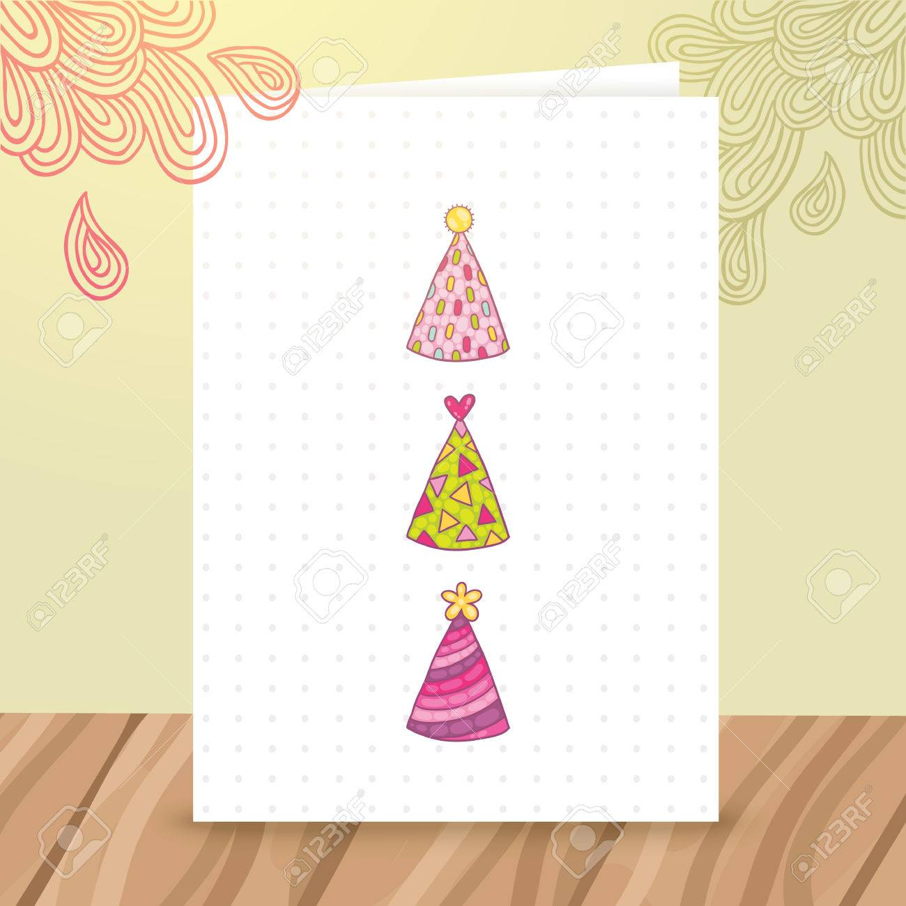 cute cartoon happy birthday postcard template with funny hats