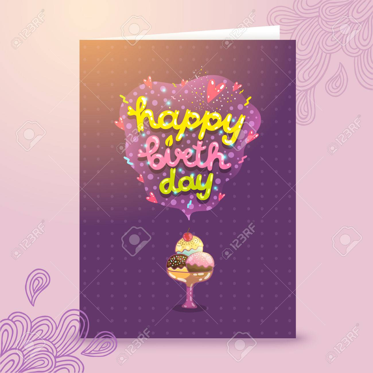 cute cartoon happy birthday postcard template with ice cream