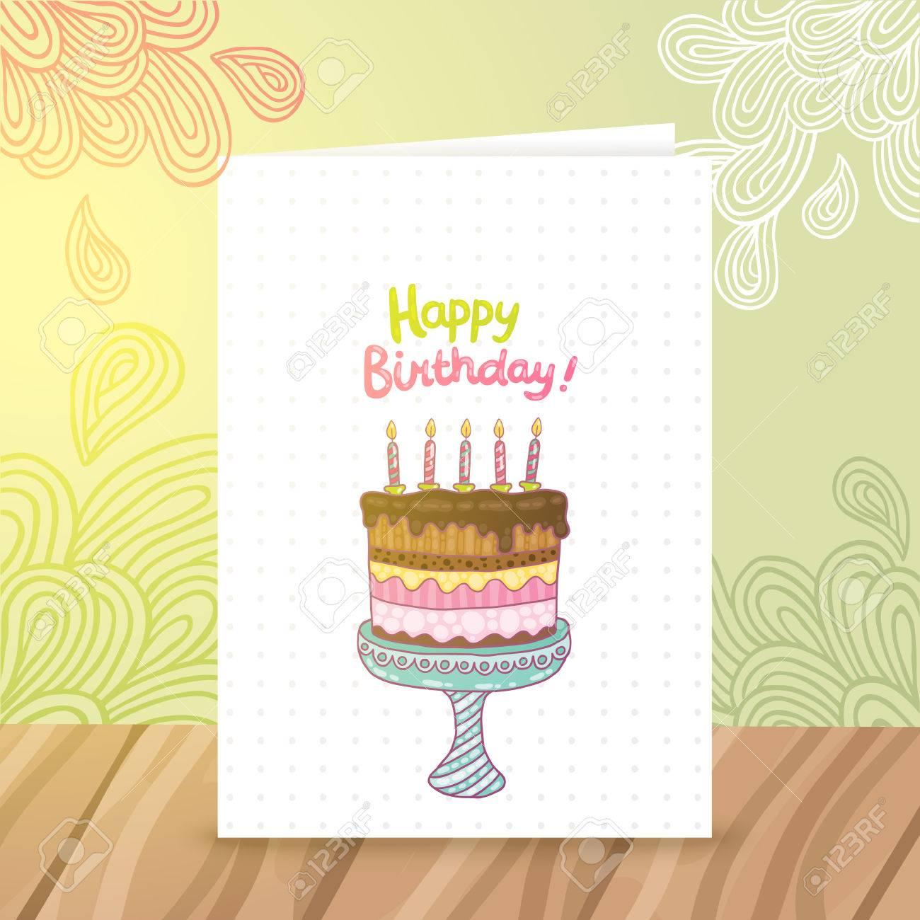 Plantilla De La Postal De La Historieta Linda Del Feliz Cumpleaños ...