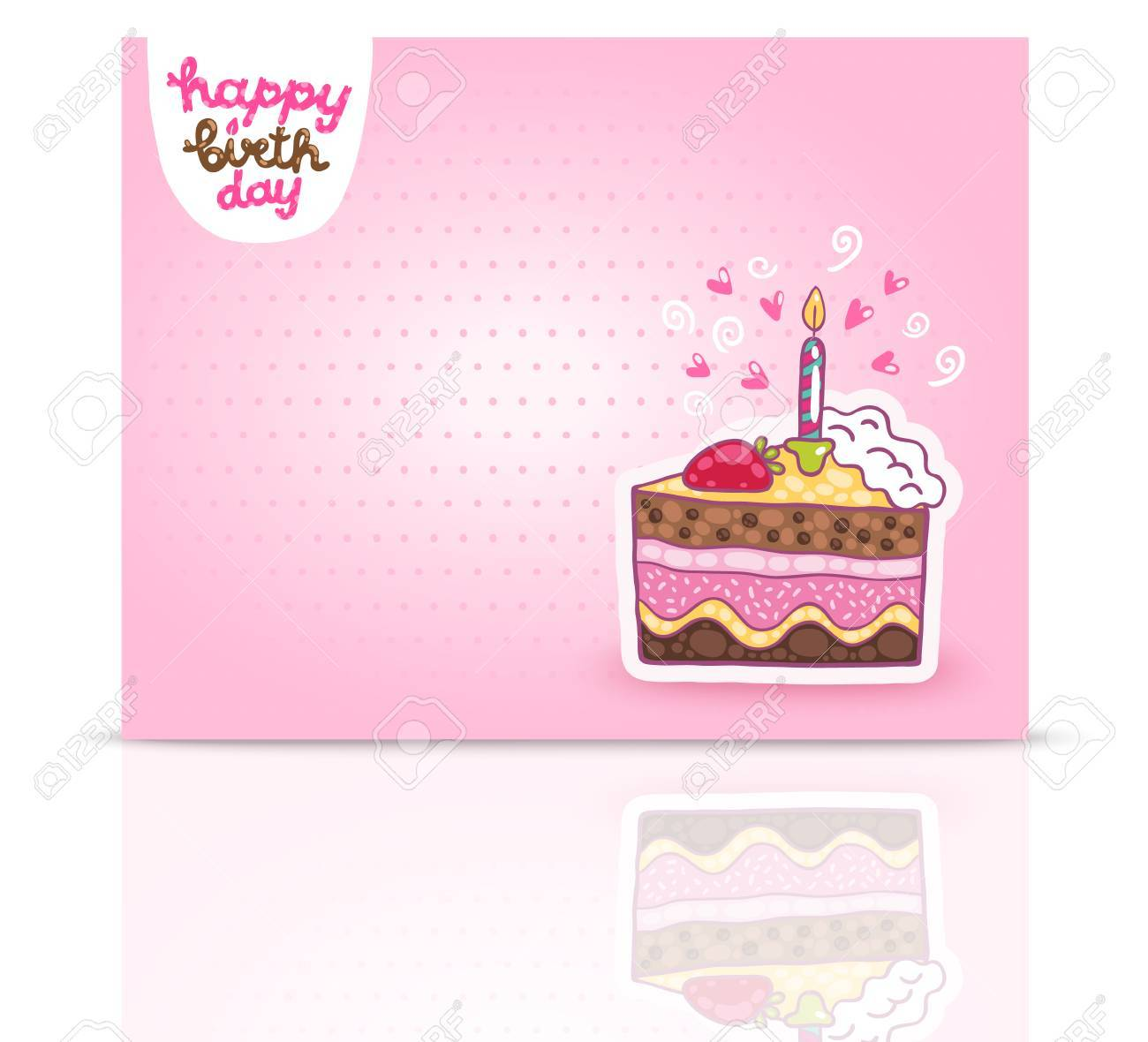 Happy Birthday Card Background With Cake. Vector Holiday Party Template  Stock Vector   27665524