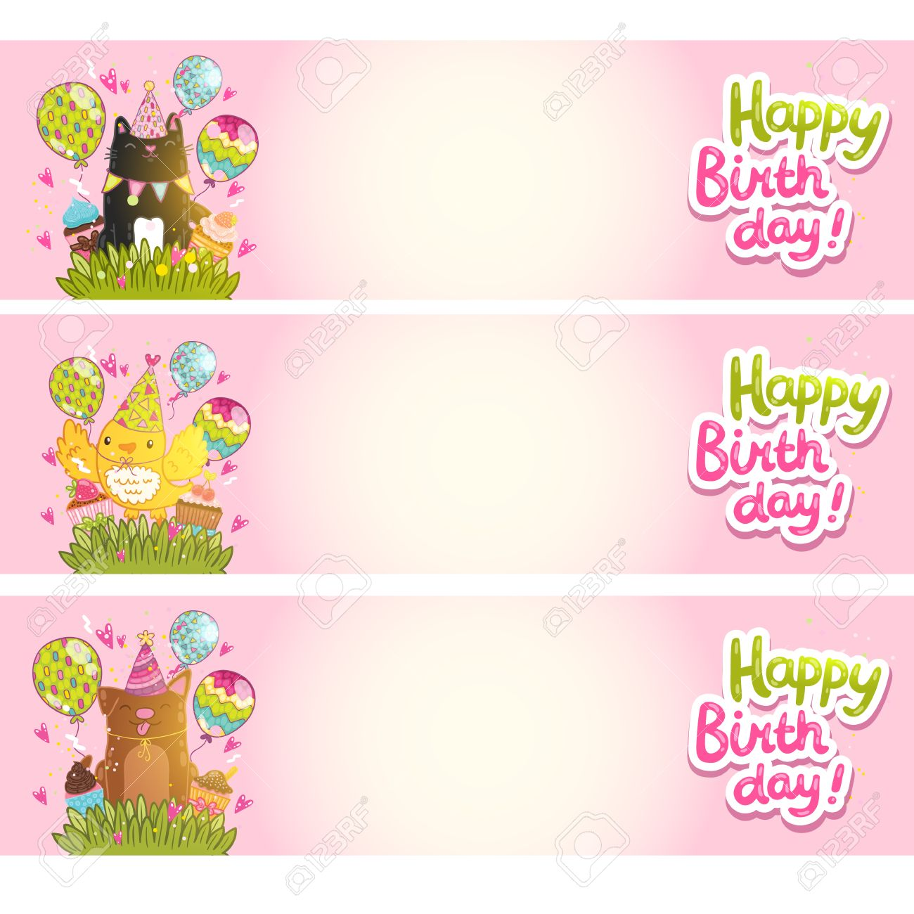 Happy Birthday Cards Background With Cat Dog Bird Vector Holiday Party Template Stock