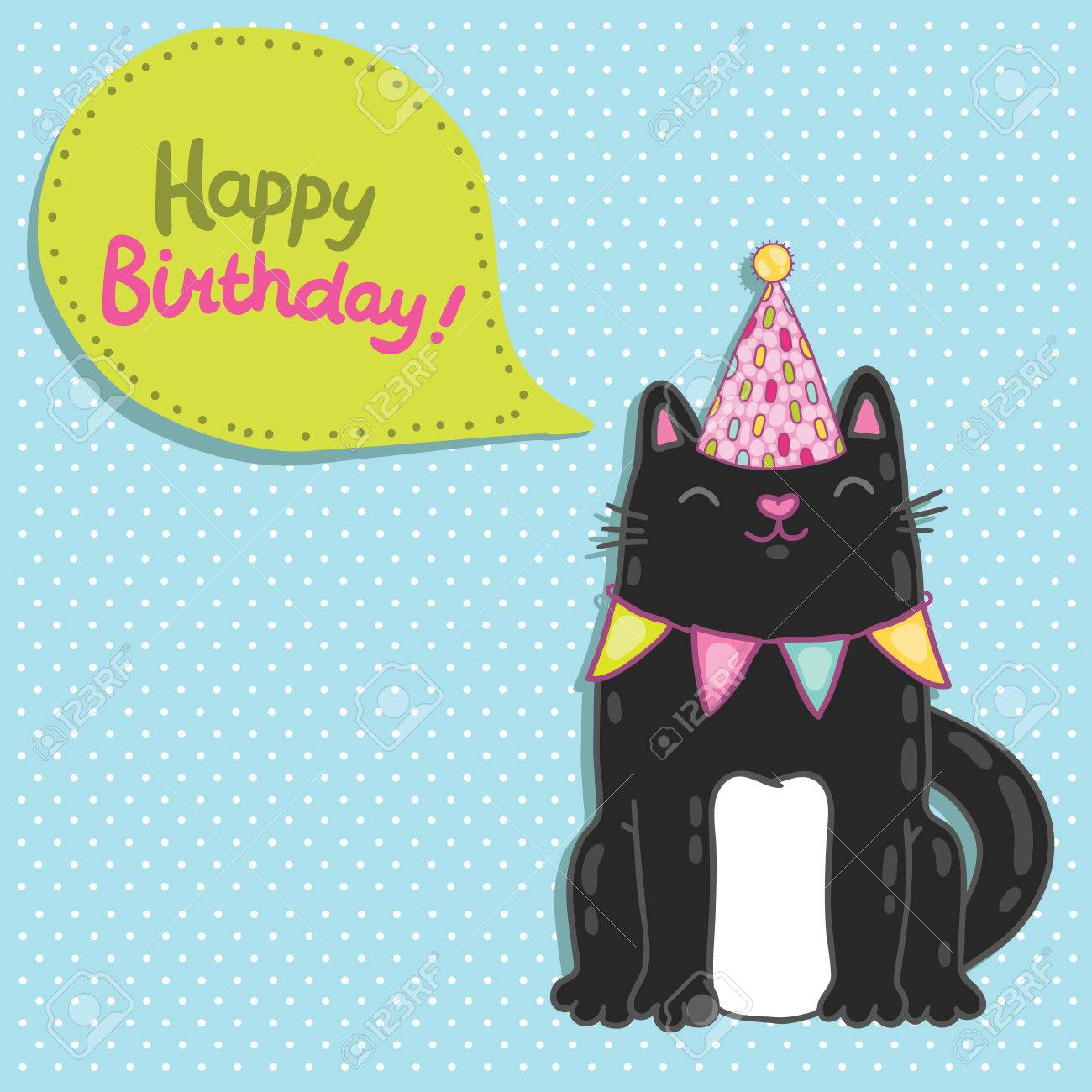 Happy Birthday Card Background With A Cat Vector Holiday Party