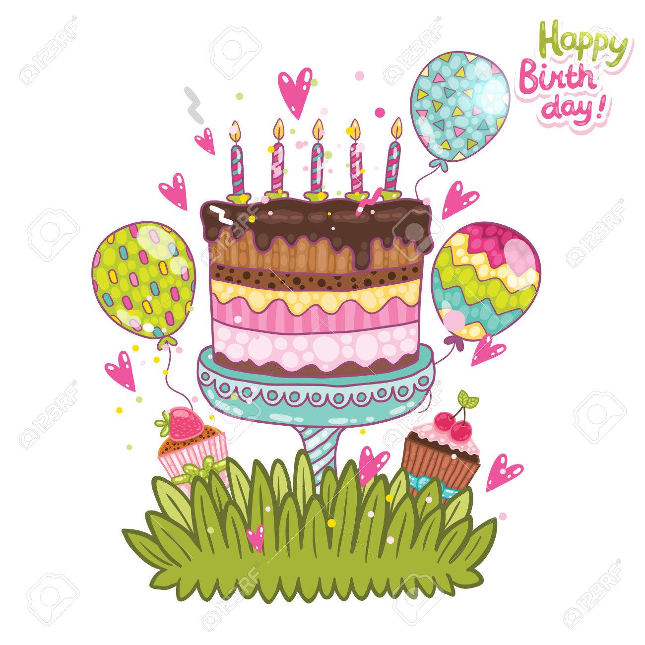 Happy Birthday Card Background With Cake Vector Holiday Party