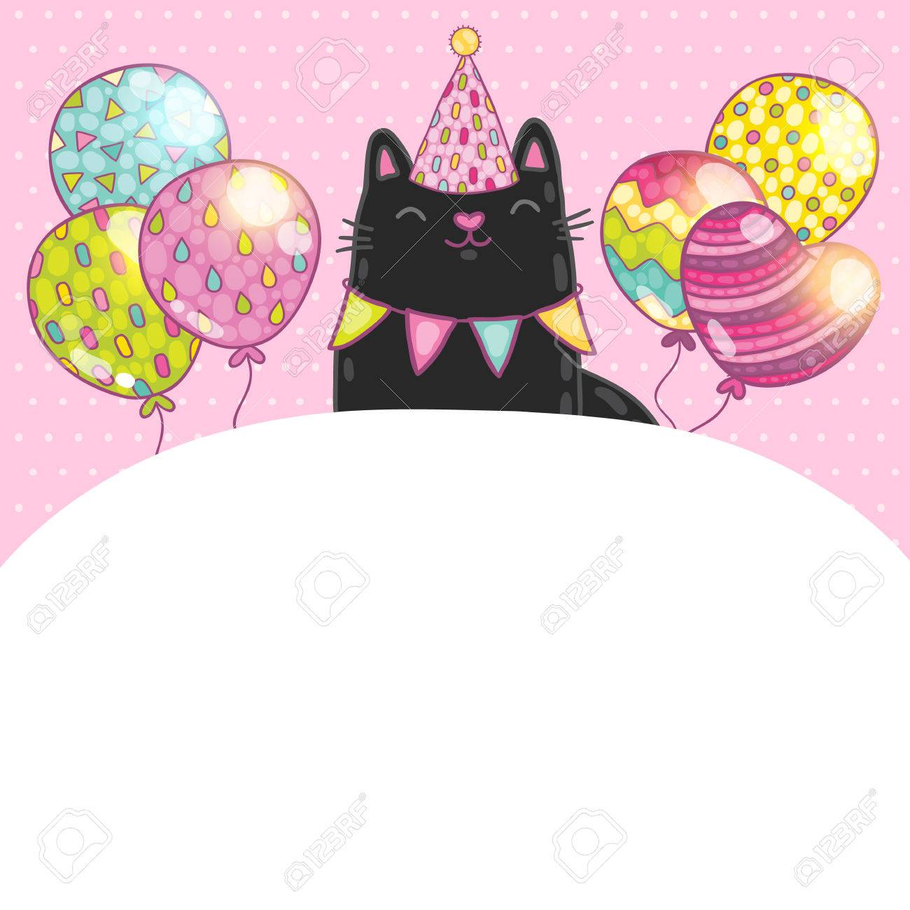 happy birthday card background a cat vector holiday party happy birthday card background a cat vector holiday party template stock vector 27665599