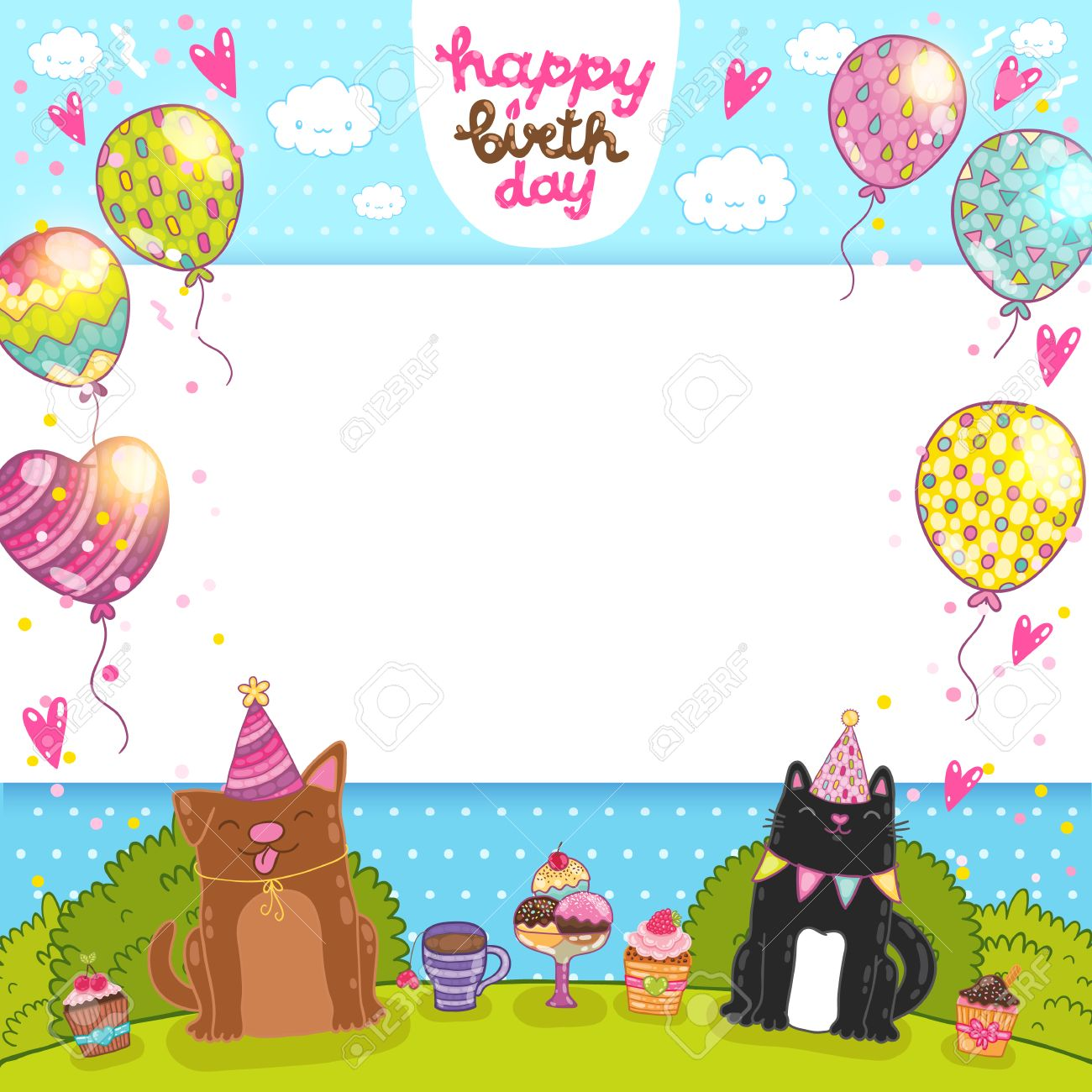 Happy Birthday Card Background With A Cat Dog And Cupcakes