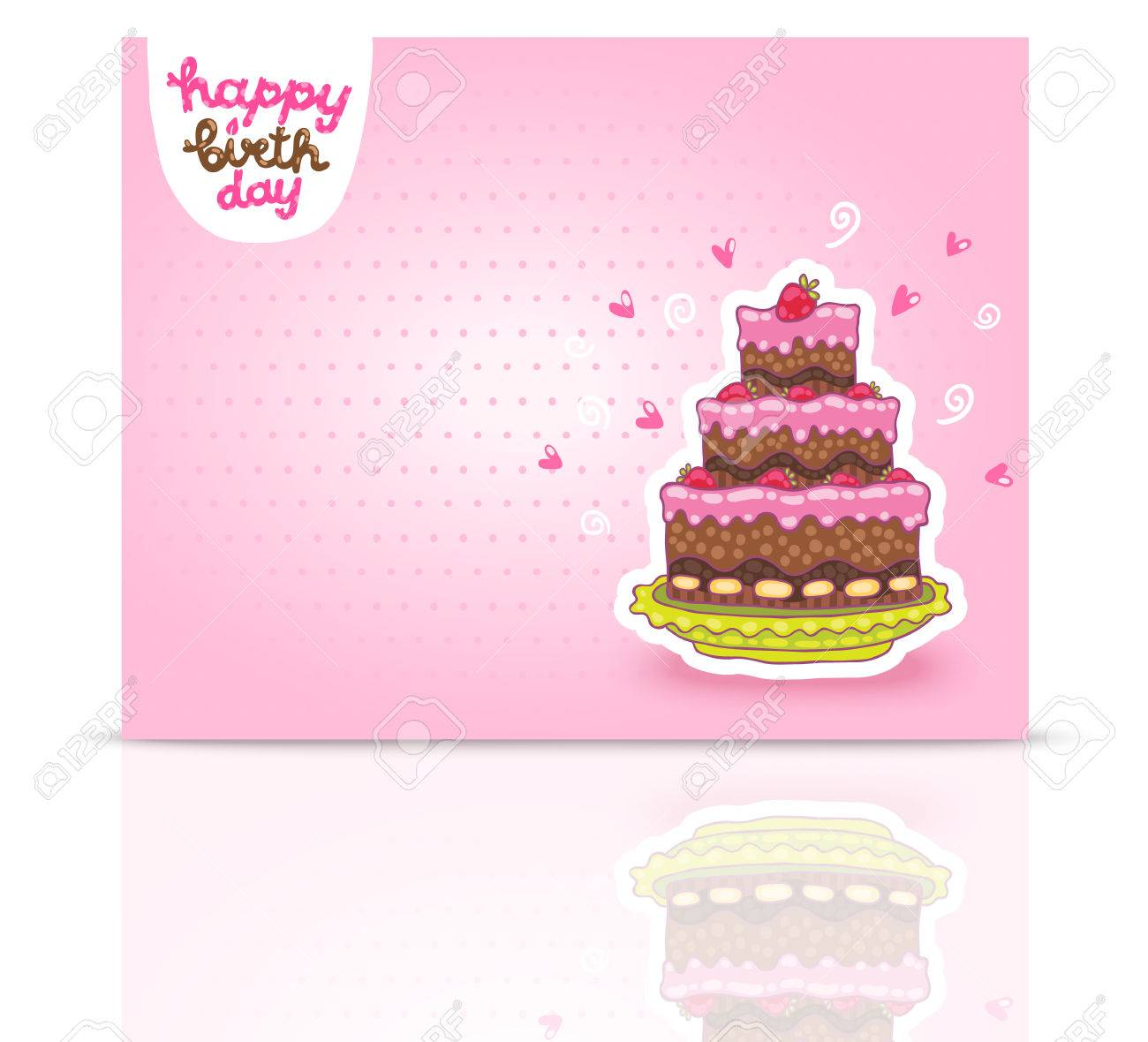 Nice Happy Birthday Card Background With Cake. Vector Holiday Party Template  Stock Vector   27665454