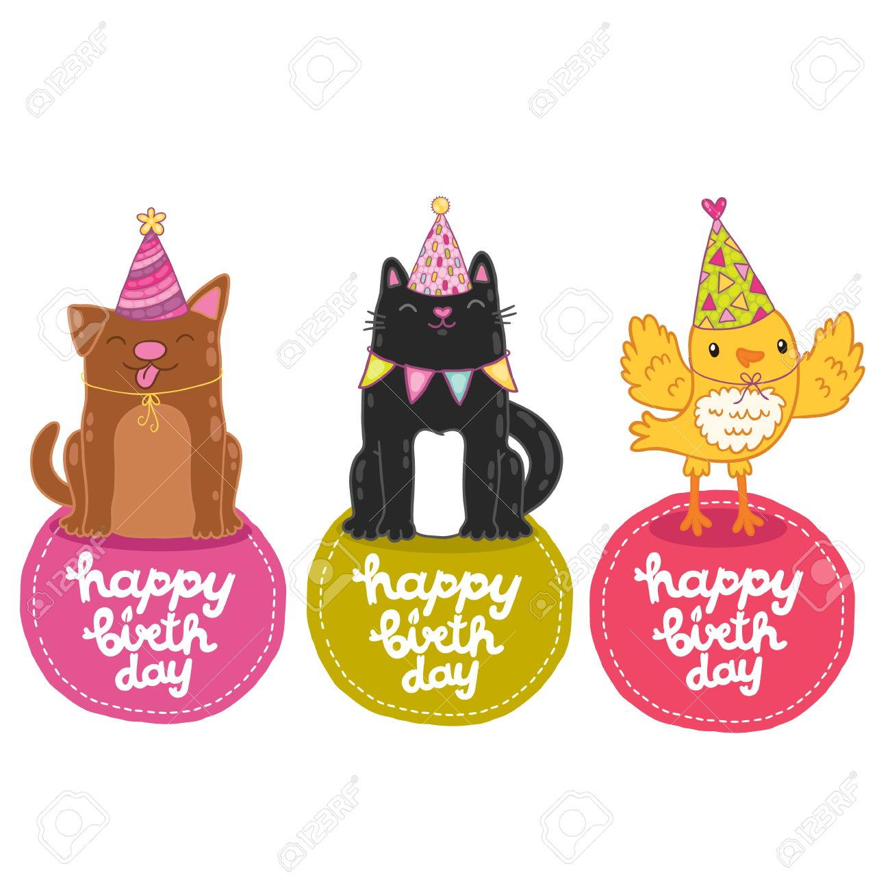 Happy Birthday Labels With Cat, Dog And Bird. Vector Holiday ...