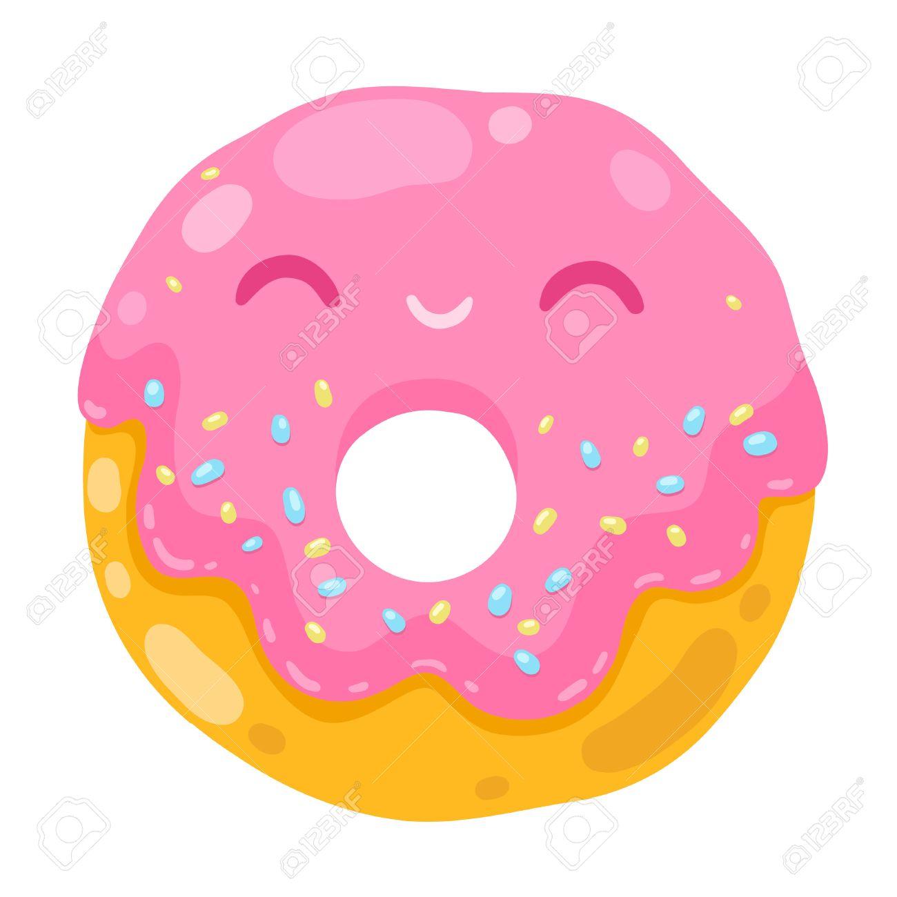 ピンクのクリームとかわいい笑顔ドーナツ食品イラストを漫画しますの