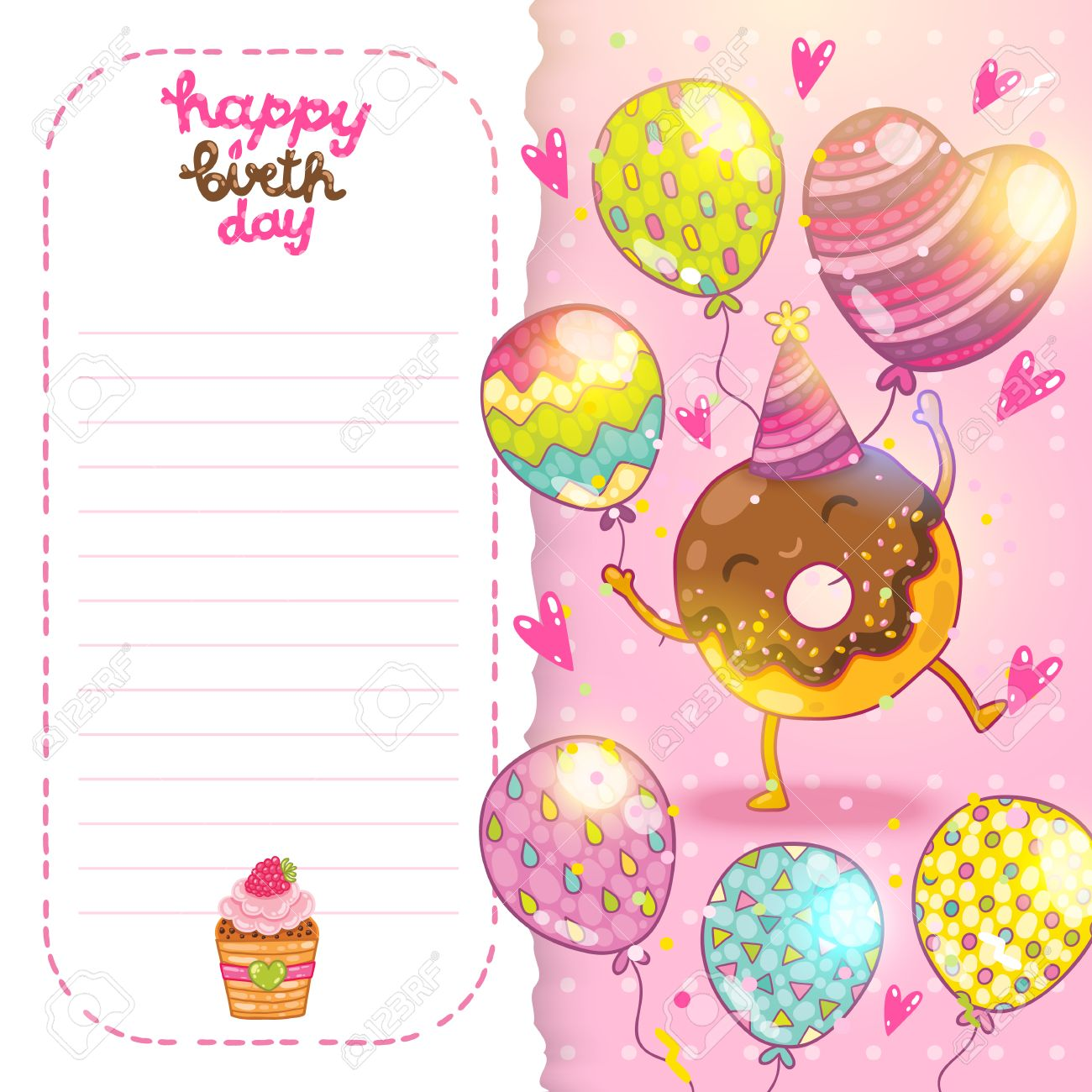 Happy Birthday Card Background With Cute Donut Vector Holiday