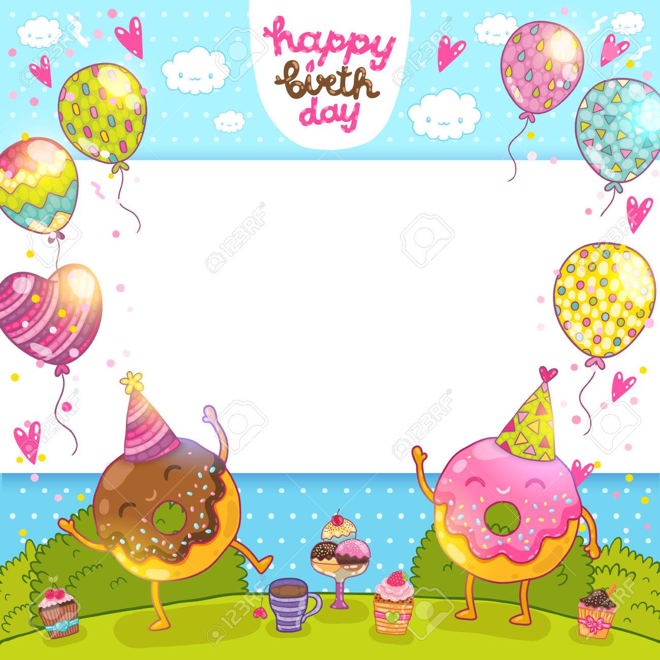 Happy Birthday Card Background With Donuts And Cupcakes Royalty
