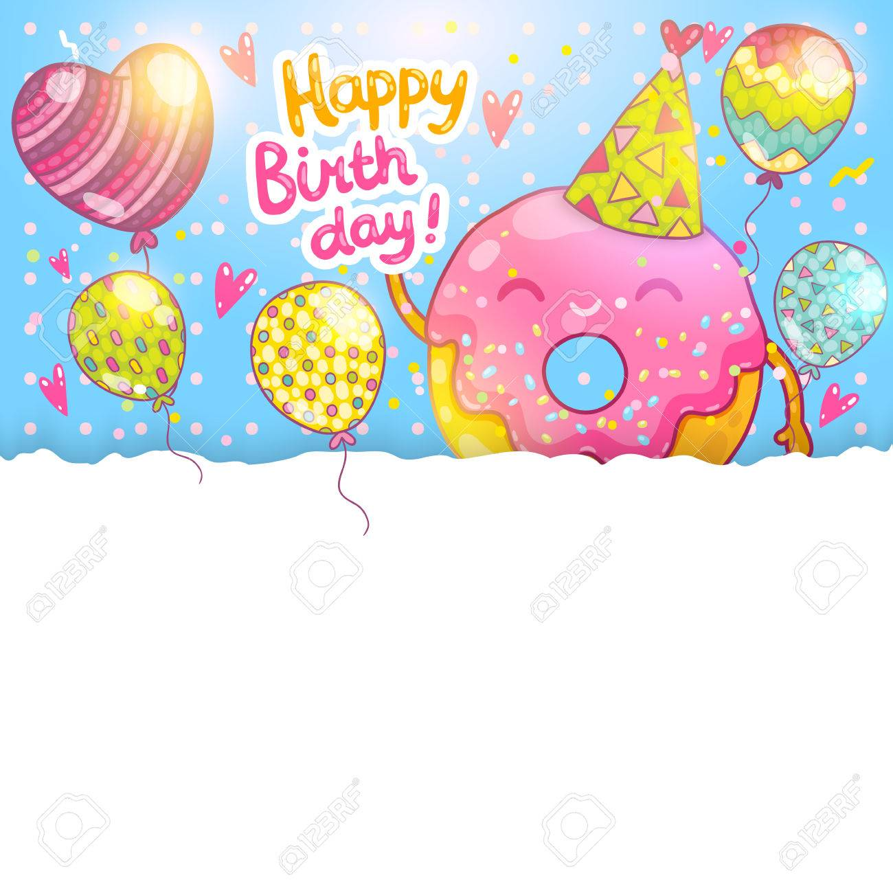 Happy birthday card background with cute donut vector holiday happy birthday card background with cute donut vector holiday party template stock vector 27662595 bookmarktalkfo Choice Image