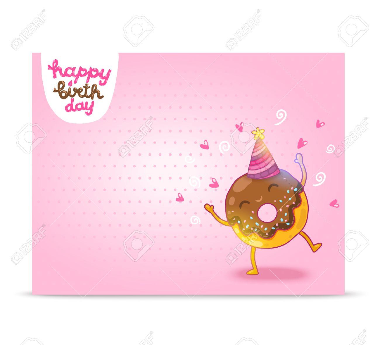 happy birthday card background cute donut vector holiday happy birthday card background cute donut vector holiday party template stock vector 27662596