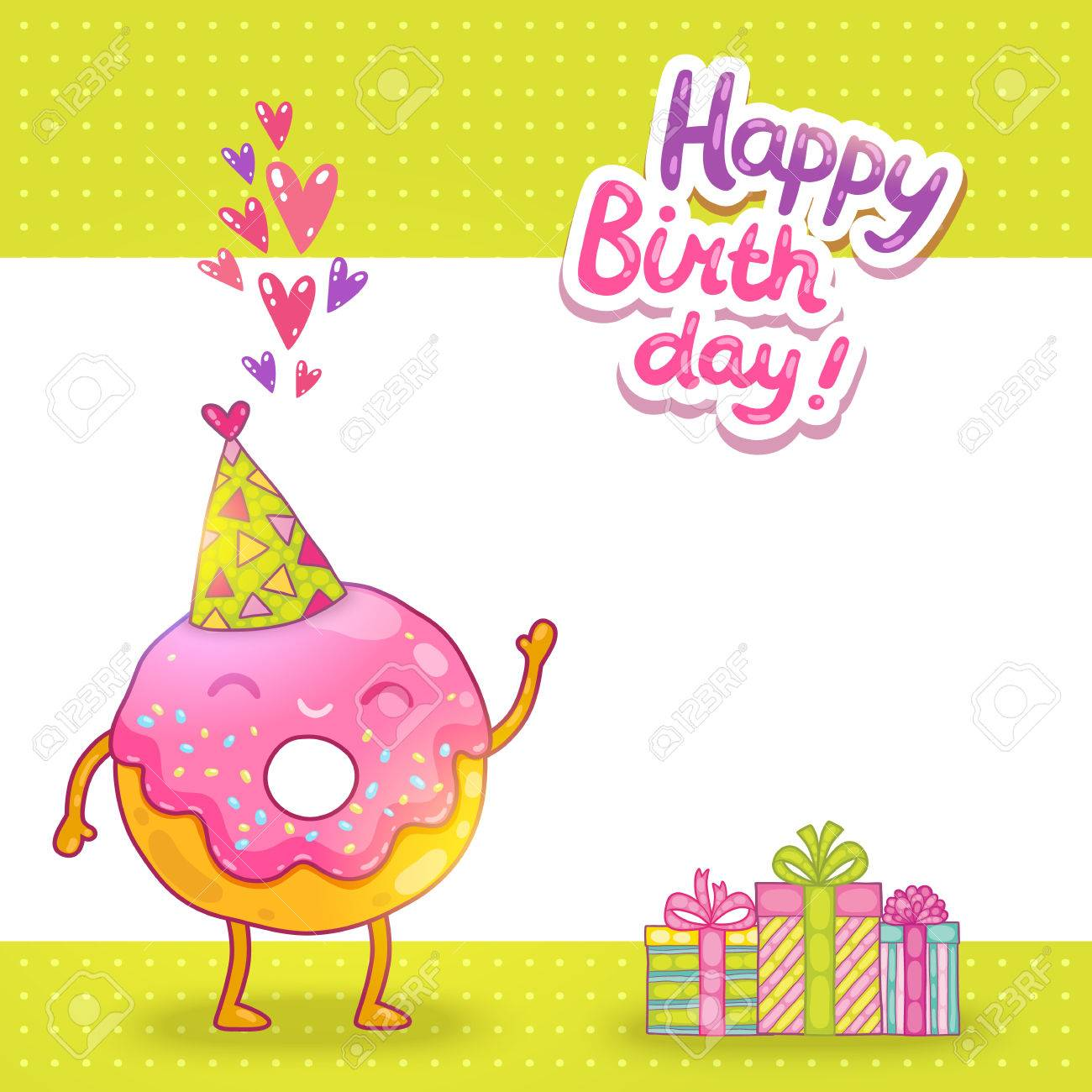 Happy Birthday Card Background With Cute Donut Vector Holiday – Template Happy Birthday Card