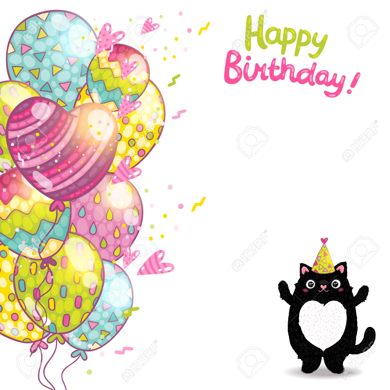 happy birthday card background a cat vector holiday party happy birthday card background a cat vector holiday party template stock vector 29269621