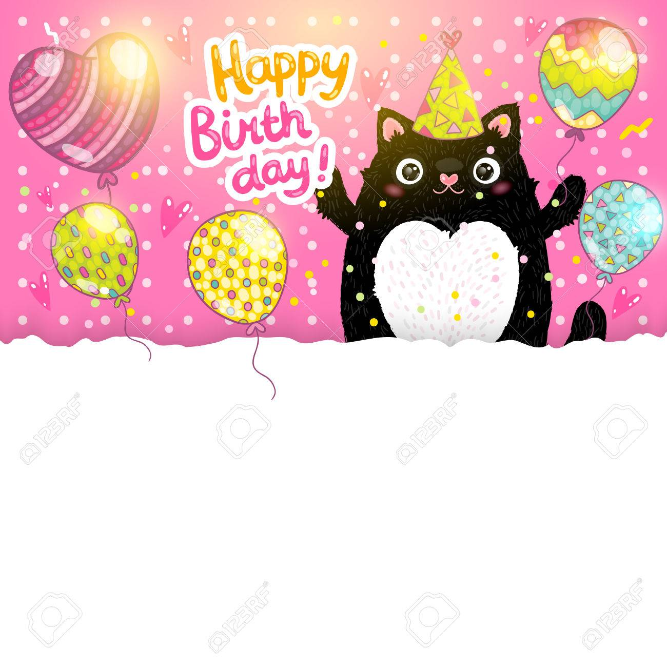 Happy Birthday Card Background With A Cat Vector Holiday Party Template Stock