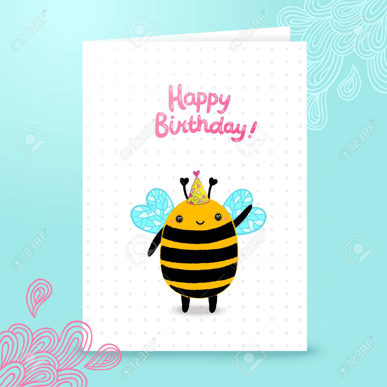 Happy Birthday Card Background With A Bee. Vector Holiday Party ...