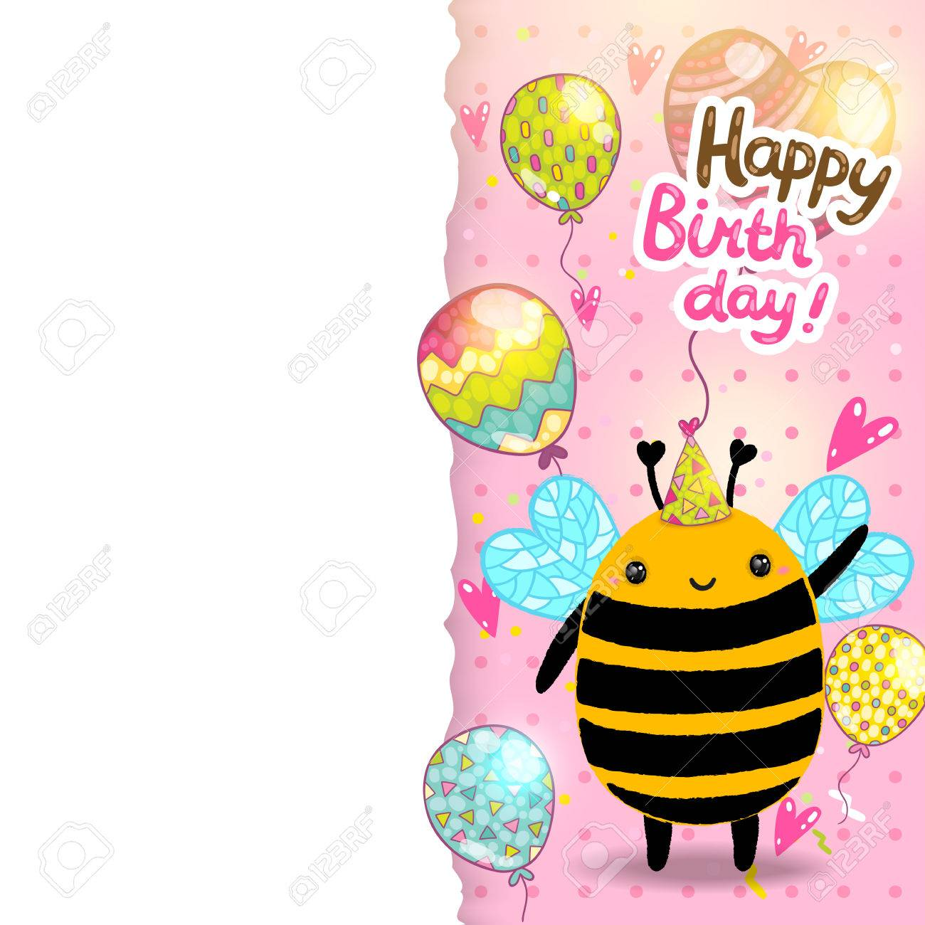 happy birthday card background a bee vector holiday party happy birthday card background a bee vector holiday party template stock vector 29315661